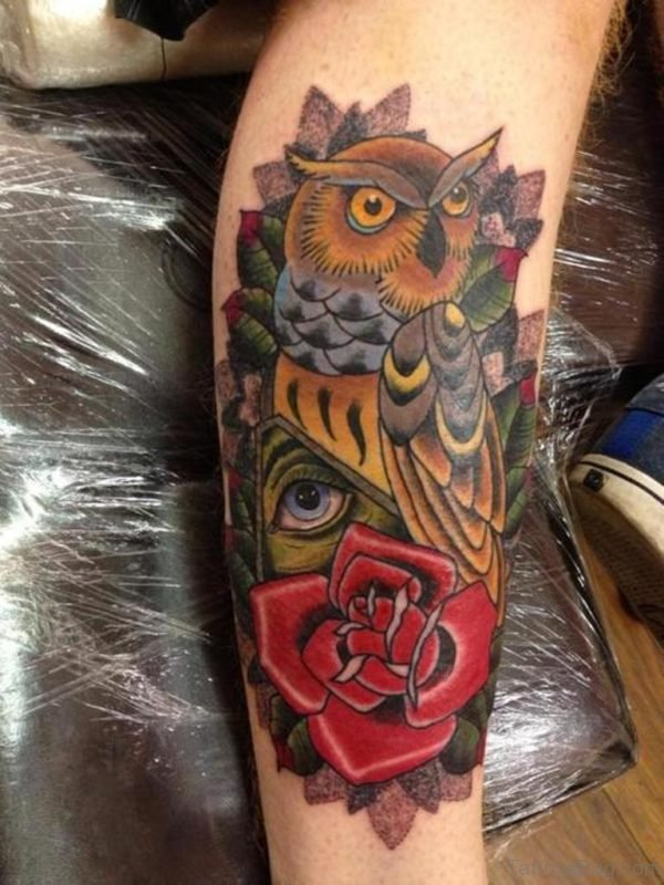 Red Rose Owl Tattoo