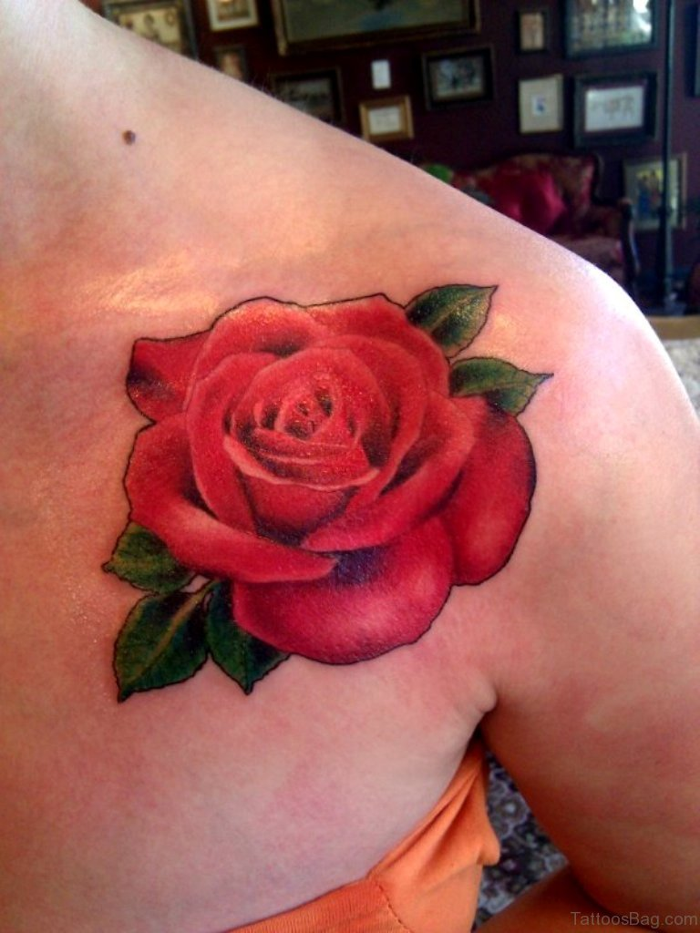 85 mind blowing rose tattoos on chest for Pictures of rose tattoos