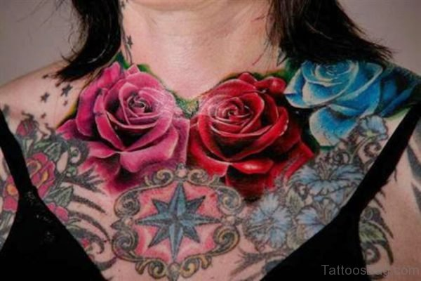 Red Rose Tattoo On Chest