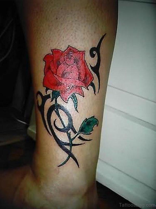Red Rose Tattoo On Leg