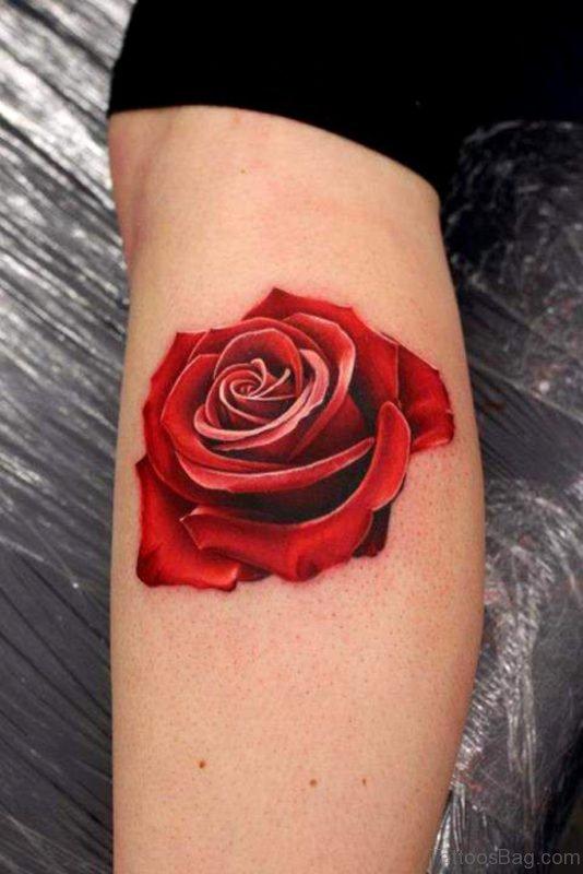 Red Rose Tattoo On Leg Sleeve