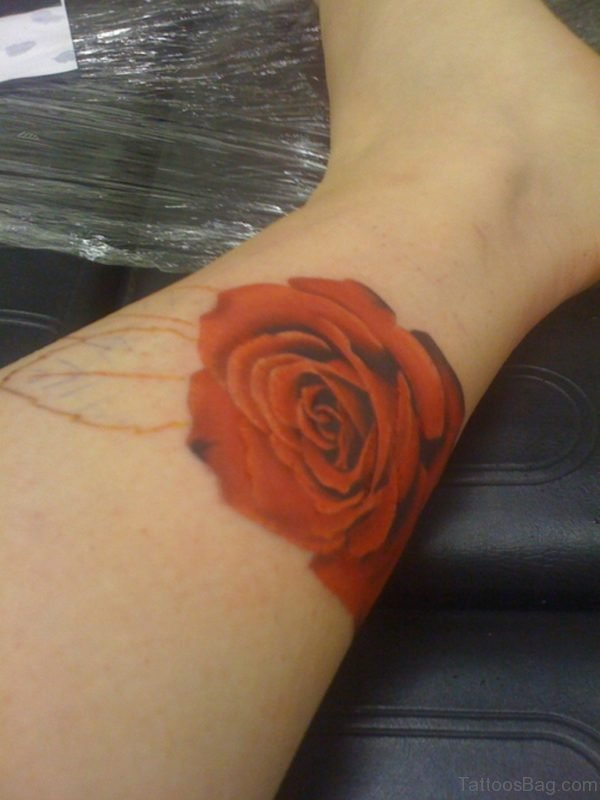 Red Rose Tattoo On Right Ankle
