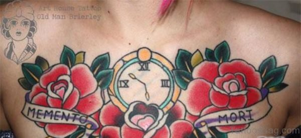 Red Roses And Clock Tattoo On Girl Chest