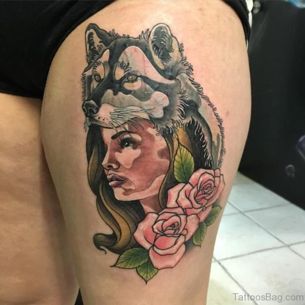 Red Roses And Wolf Girl  Tattoo On Left Thigh