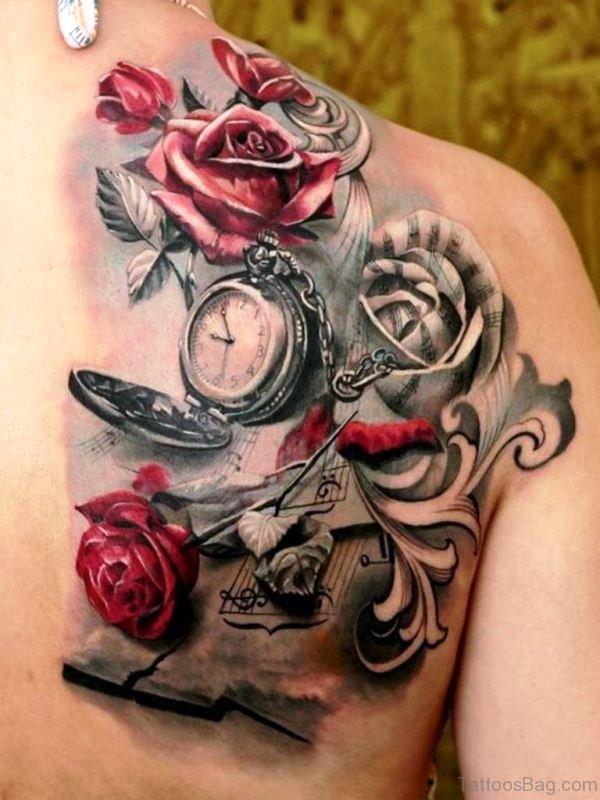 Red Roses Clock Tattoo Design