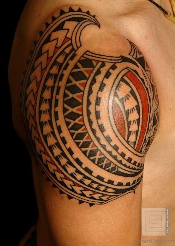 Red Tribal Geometric Tattoo