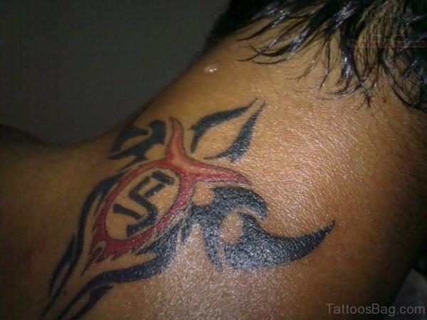 Red Tribal Neck Tattoo Design