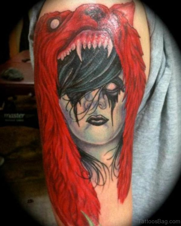 Red Wolf And Girl Tattoo