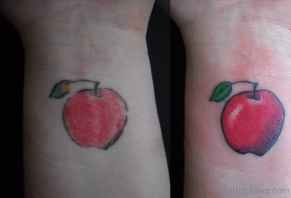 Red apple Wrist Tattoo