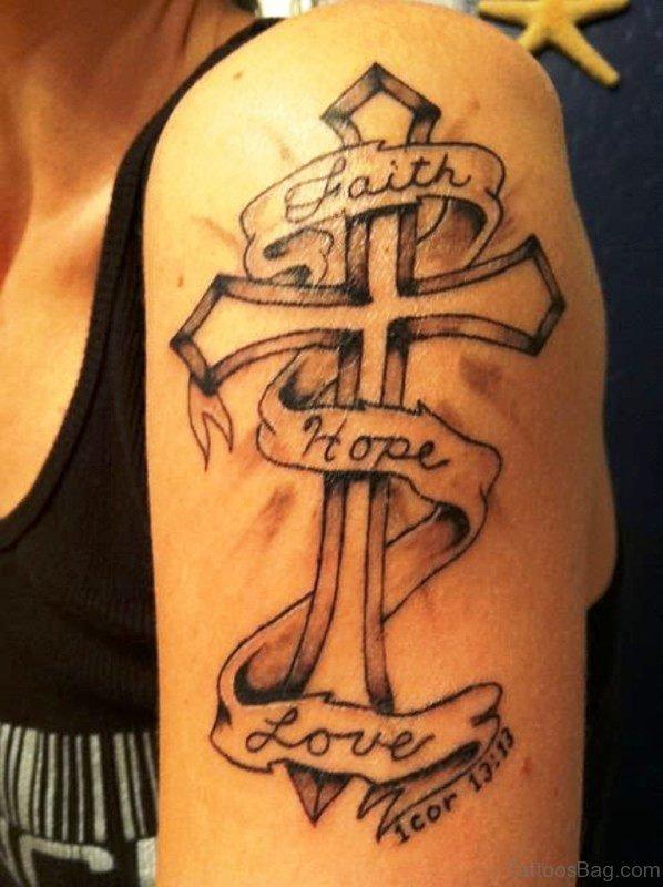 Religious Cross On Left Shoulder