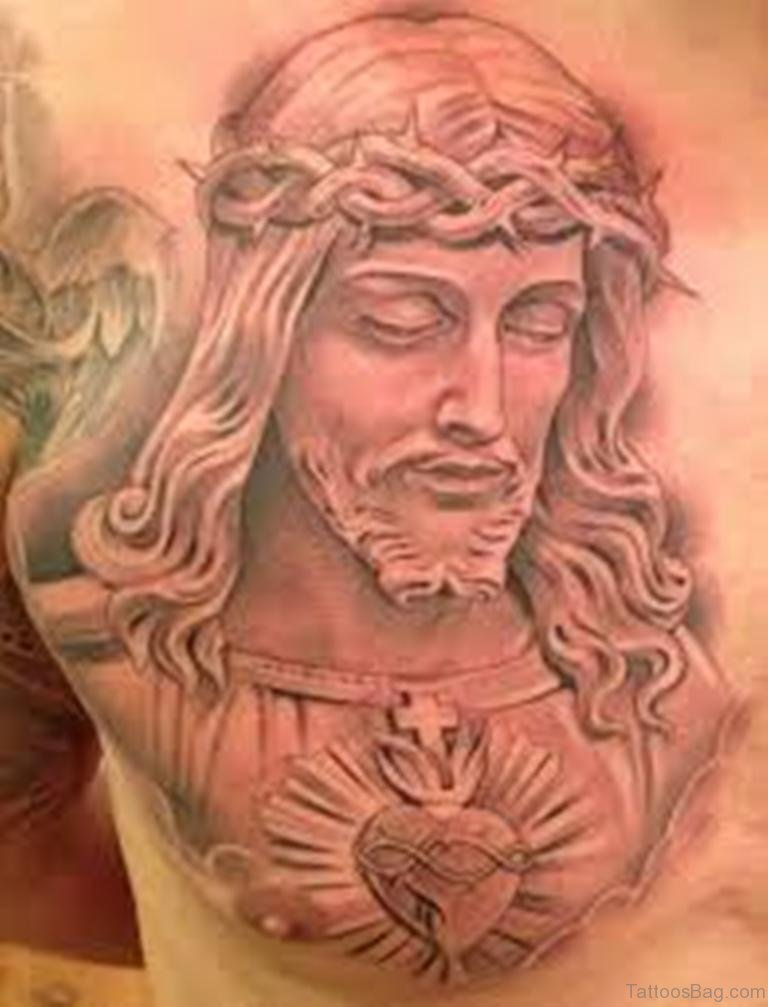 70 mind blowing jesus tattoos for chest for Religious chest tattoos