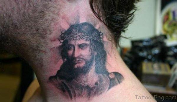 Religious Jesus Tattoo On Neck