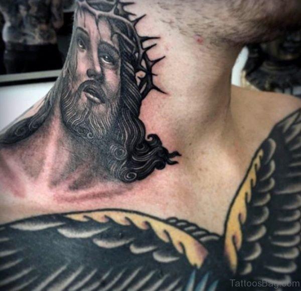 Religious Neck Tattoo Design