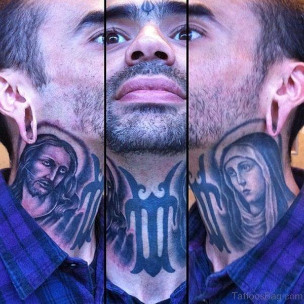Religious Tattoo Design On Neck
