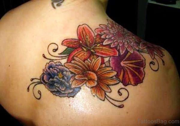 Right Back Shoulder Flower Tattoo