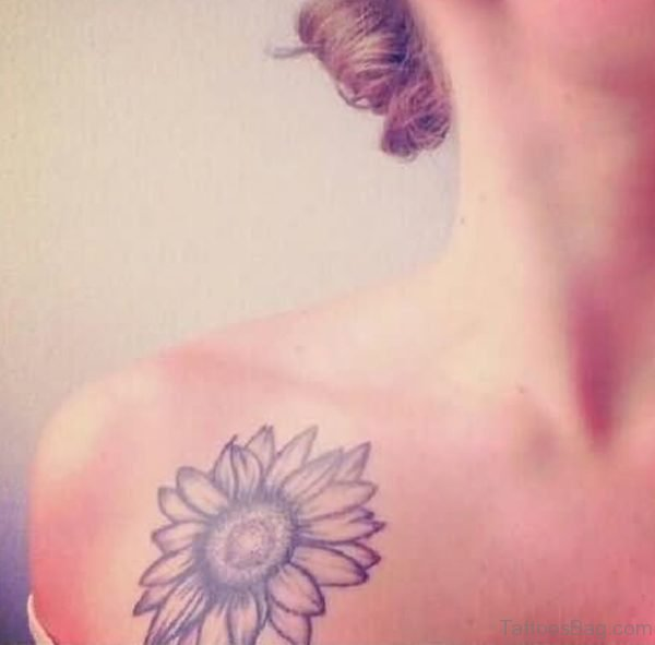 Right Collarbone Sunflower Tattoo