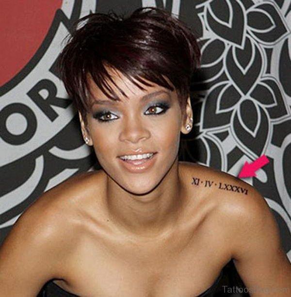 Rihanna Roman Tattoo