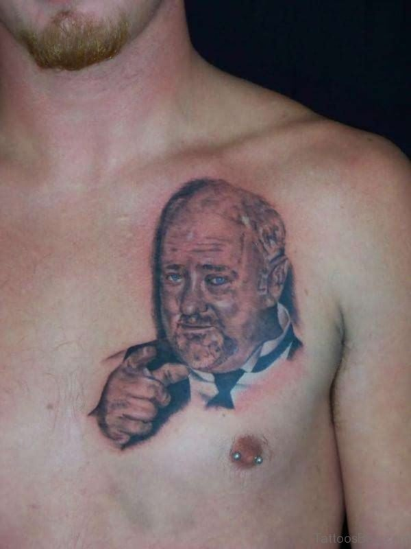 Rip Dad Portrait Tattoo On Man Chest