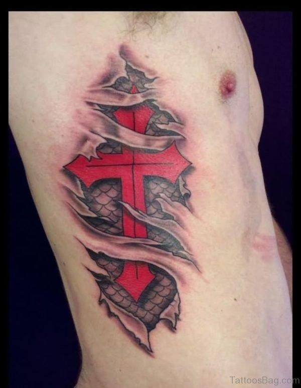 Ripped Skin 3D Red Cross Tattoo On Side Rib