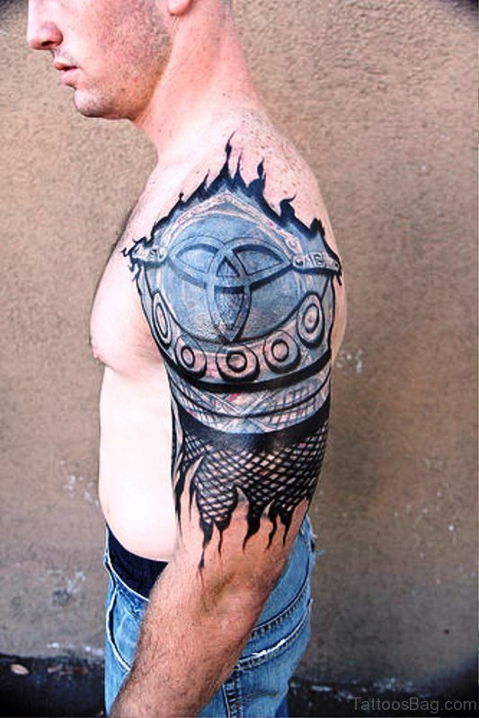 Ripped Skin Armour Tattoo Design