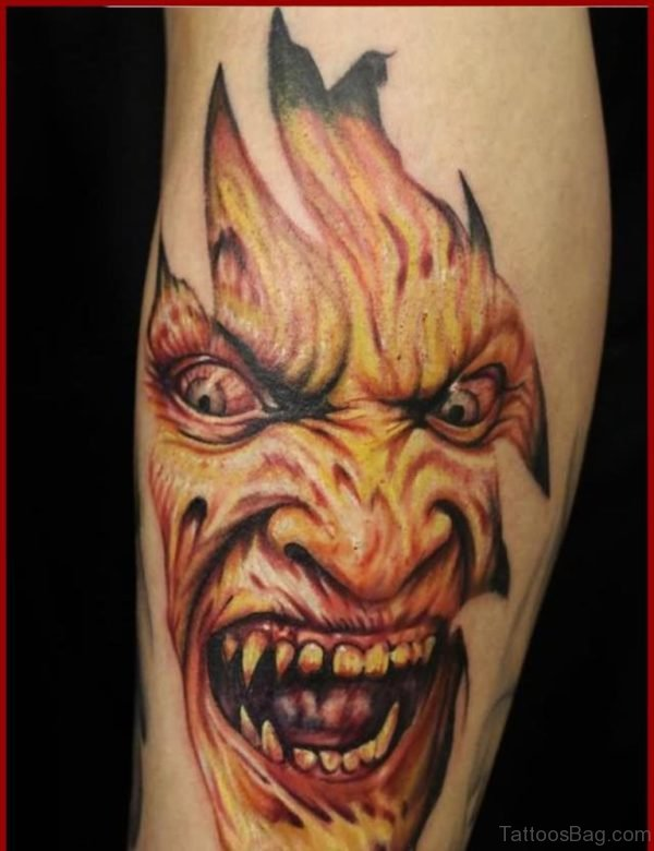 Ripped Skin Horror Zombie Face Tattoo Design For Leg Calf