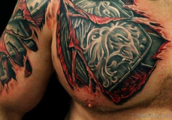 Ripped Skin Lion Armor Tattoo