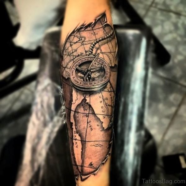Ripped Skin Map With Compass Tattoo