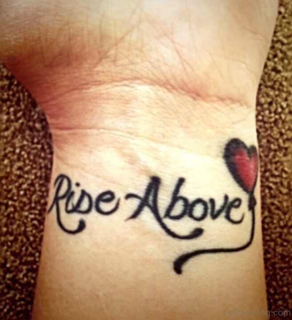 Rise Above Balloon Tattoo On Wrist