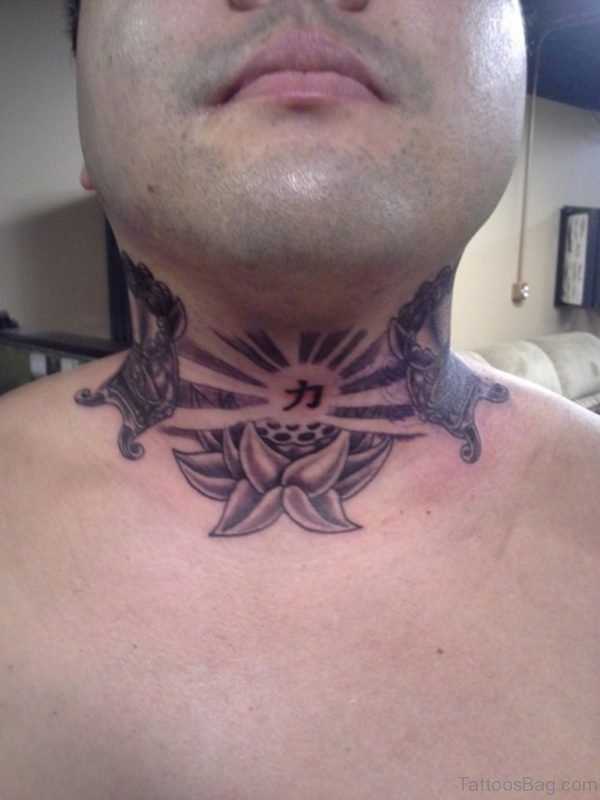 Rising Sun Chinese Tattoo On Neck