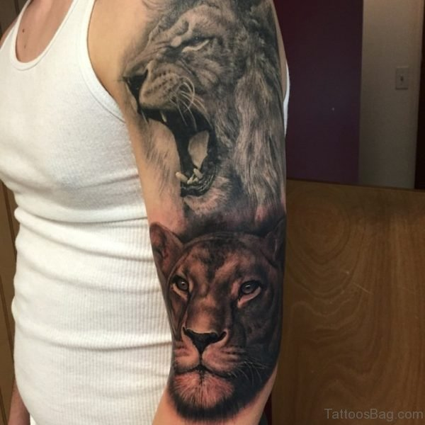 Roaring Lion Tattoo On Full Sleeve