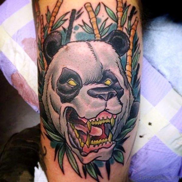 Roaring Panda Face Shoulder Tattoo