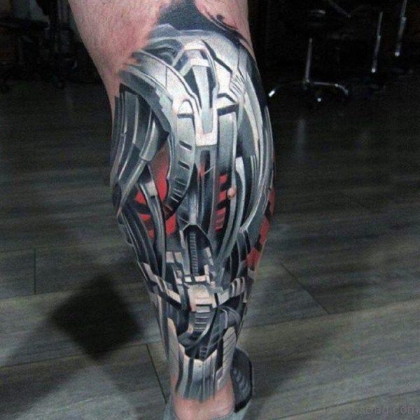Robo Armor Biomechanical Tattoo on Leg