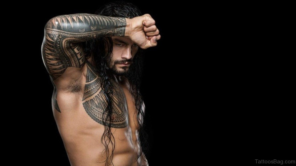 a80ab21f5 Roman Reigns Show Amazing Tribal Tattoo On Full Sleeve