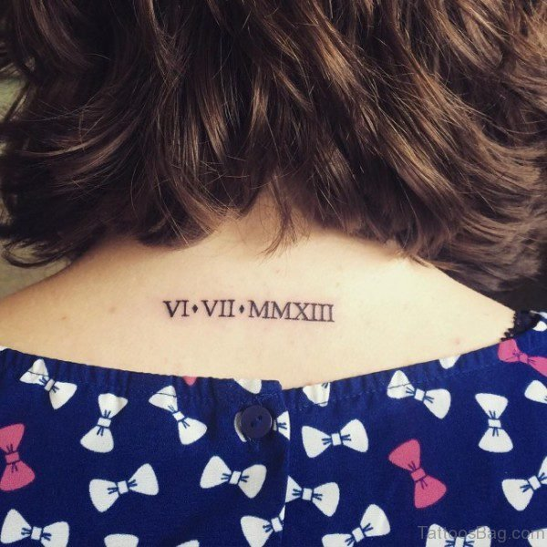Roman Words Tattoo On Neck Back