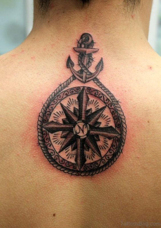 Rope Anchor Compass Tattoo On Upper Back