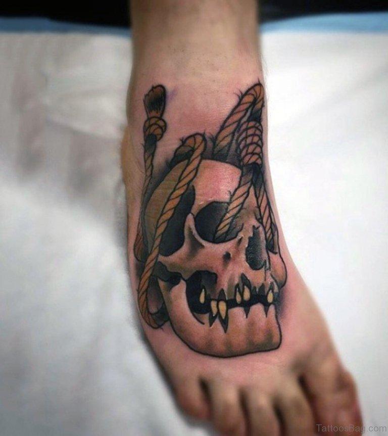 15b96ed6c 50 Magnificent Skull Tattoos On Foot