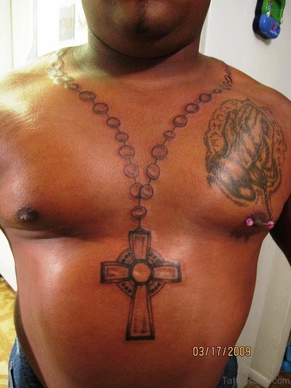 Rosary Tattoo From Neck To Below Chest