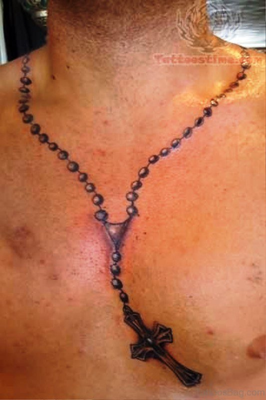 Rosary Tattoo On Neck Image