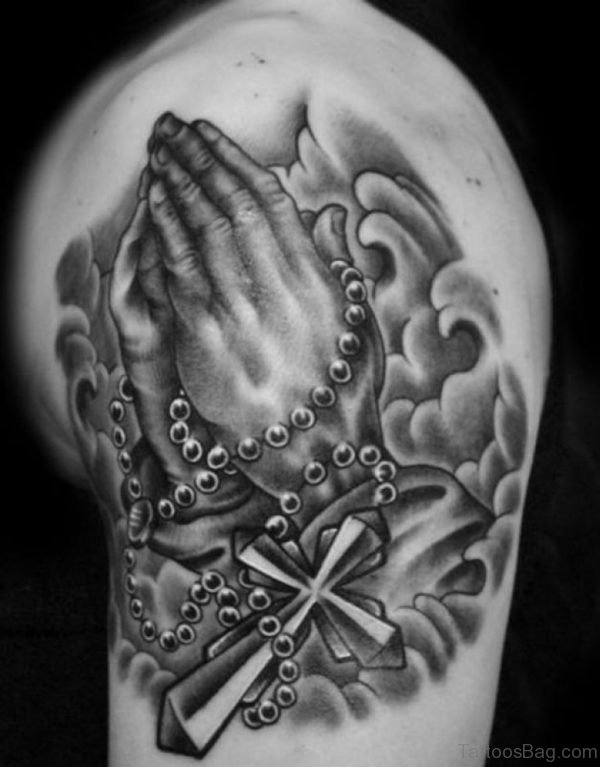 Rosary With Praying Hands Tattoo For Shoulder