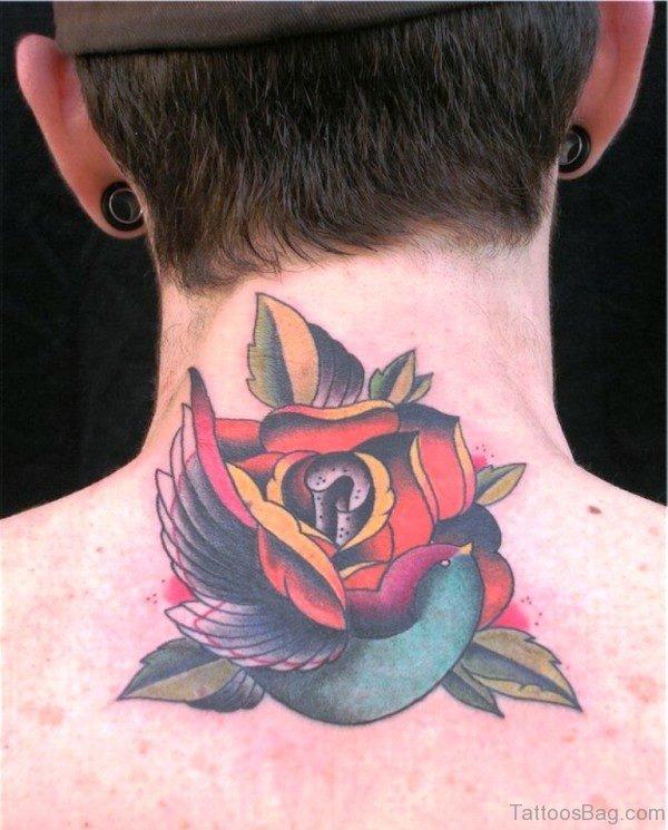 Rose And Bird Tattoo On Neck
