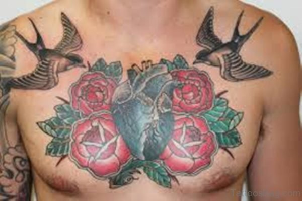 Rose And Birds Tattoo