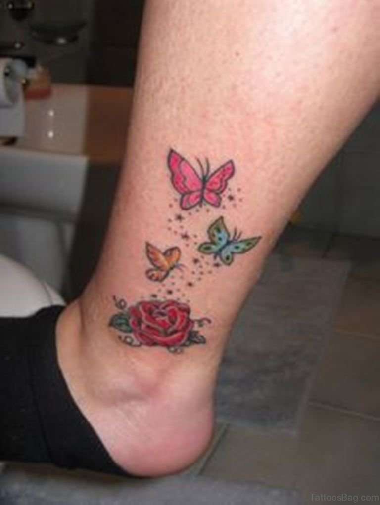 50 excellent butterfly tattoos on ankle for Tattoos of roses