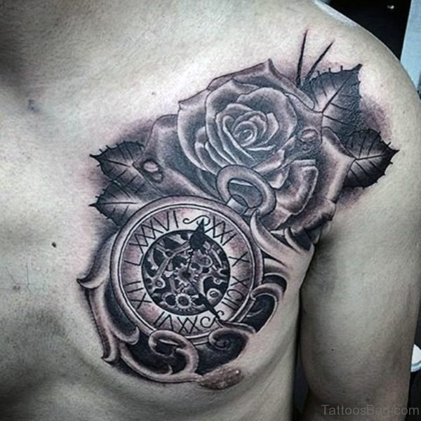 Rose And Clock Tattoo