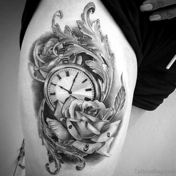 Rose And Clock Tattoo On Thigh