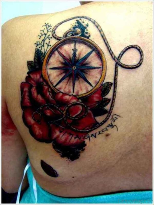 Rose And Compass Tattoo On Back Shoulder