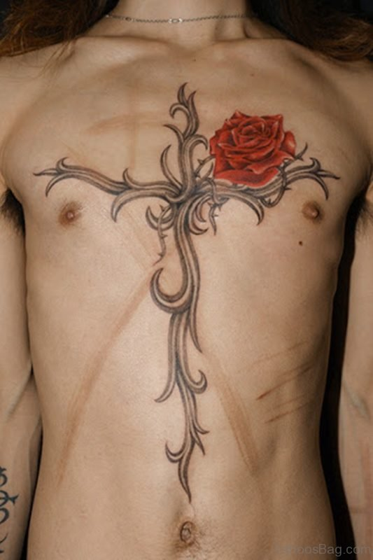 Rose And Cross Tattoo