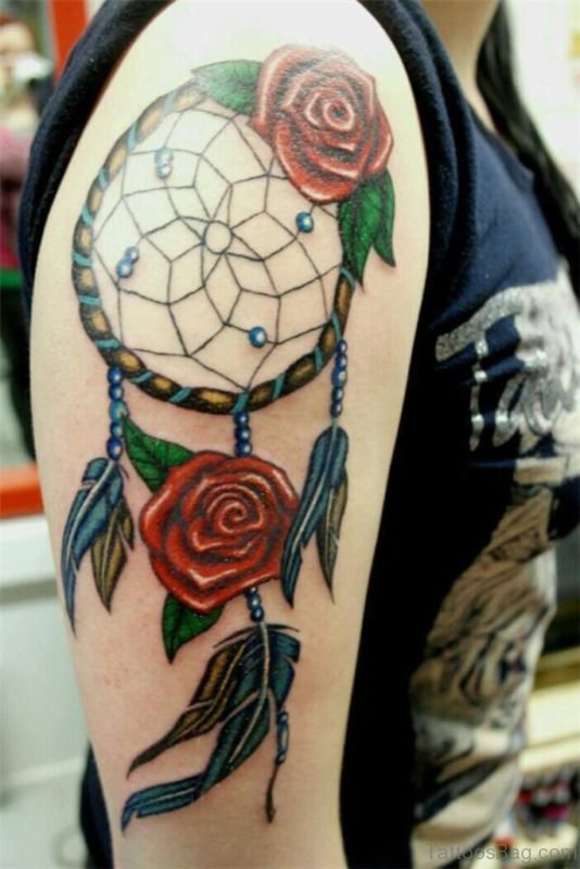 Rose And Dreamcatcher Tattoo