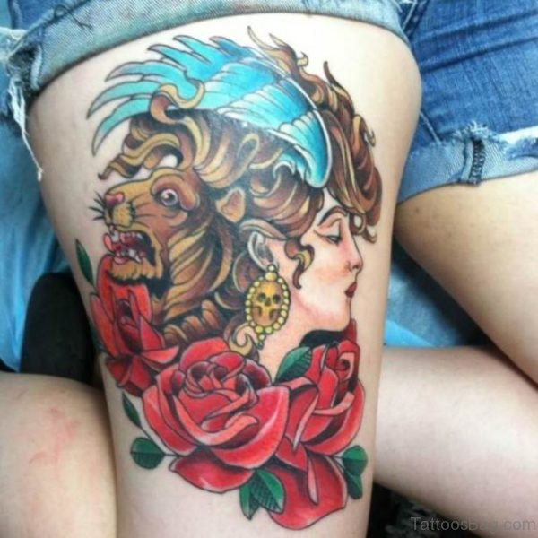 Rose And Lion Tattoo