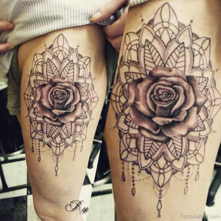 73 beauteous mandala tattoos designs on thigh. Black Bedroom Furniture Sets. Home Design Ideas