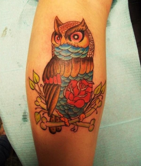 Rose And Owl Tattoo On Leg